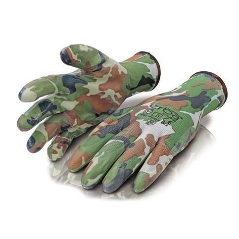 Pracovní rukavice XL polyesterové potažené nitrilem, maskovací