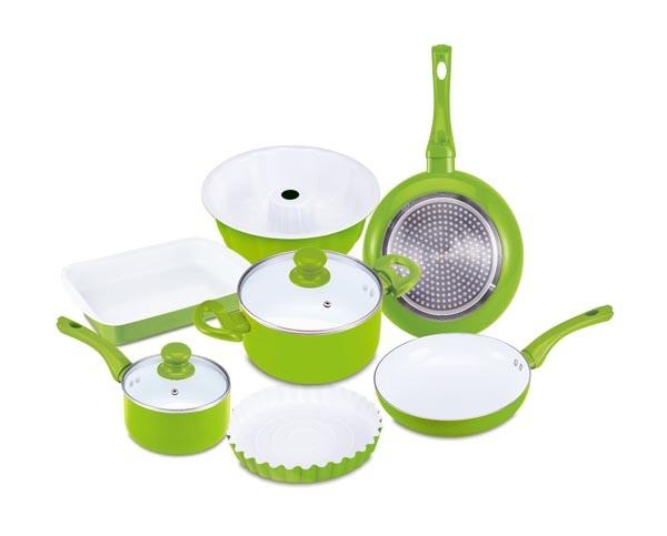 Sada nádobí s keramickým povrchem 9 ks, zelená
