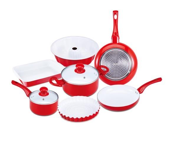 Sada nádobí s keramickým povrchem 9 ks, červená