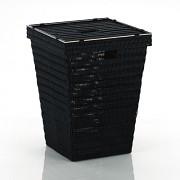 Koš na prádlo NOBLESSE PP plast, černý 40x40x53 cm