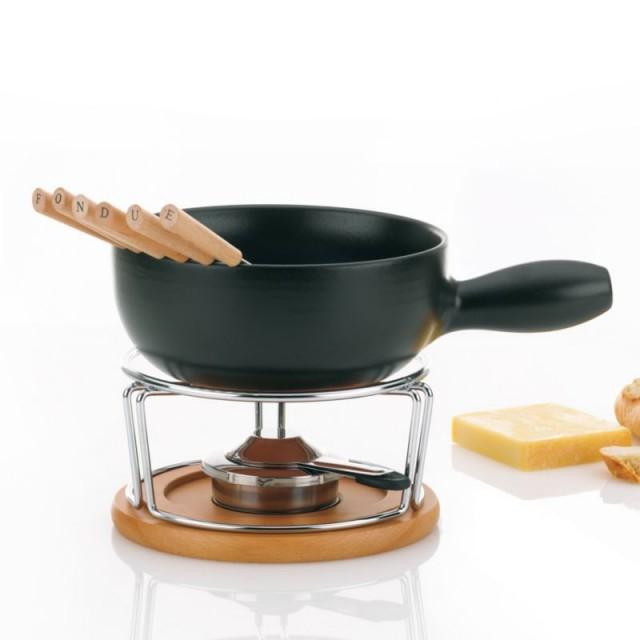 Sýrové fondue NATURA 10-dílné keramika, nerez, chróm, buk