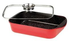 Pekáč s mramorovým povrchem obdélnikový s aroma poklicí 40x25 cm červený