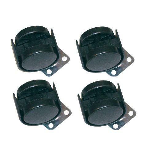Kolečko plastové, 4 ks, 40 mm, černé