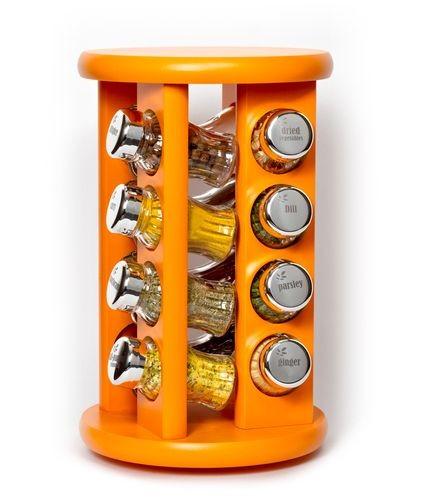 Kořenky dřevěné 16 ks, otočné, s kořením, oranžový stojan