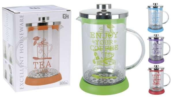 Konvička na čaj a kávu sklo French Press 800 ml