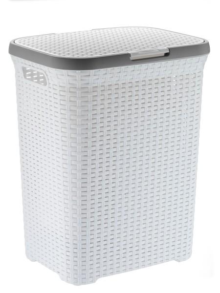 Koš na prádlo s víkem RIO 65 L plast bílý