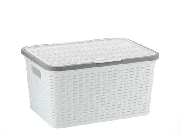 Úložný box s víkem RIO 25 L plast bílý