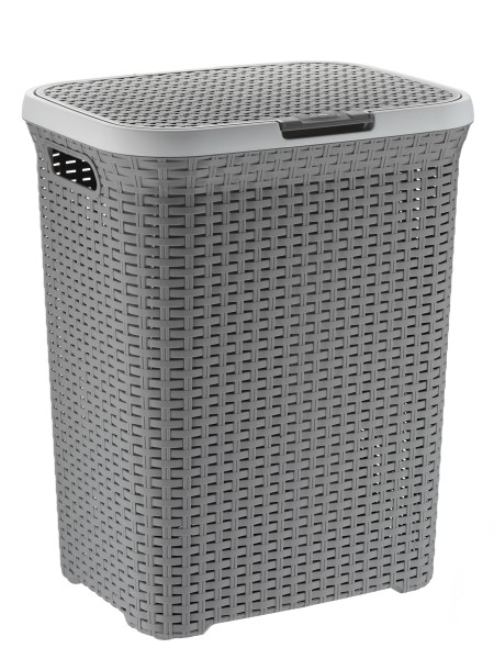Koš na prádlo s víkem RIO 65 L plast šedý