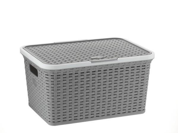 Úložný box s víkem RIO 25L plast šedý