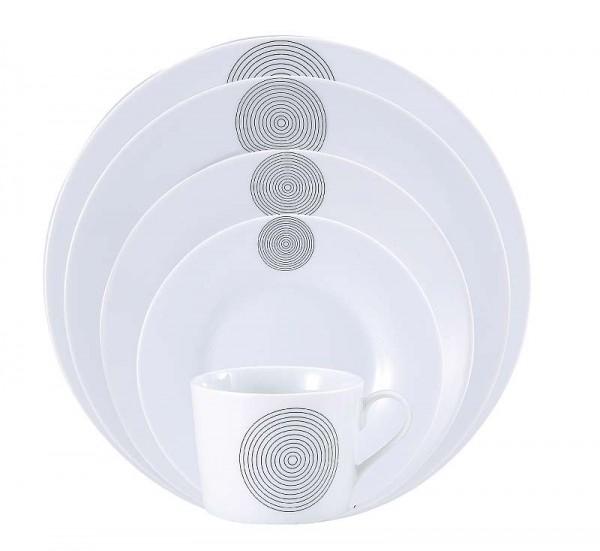 Jídelní sada talířů 30 ks OSLO, bílá / černý dekor kruhy