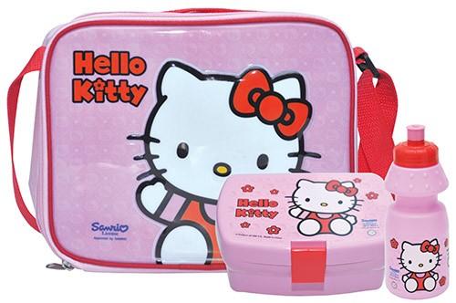 Svačinový box a láhev v tašce s motivem Hello Kitty