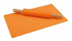 Vál silikonový s válečkem, oranžová