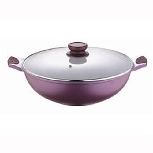 Bergner pánev s keramickým povrchem wok a poklicí 30 cm Vioflam fialová