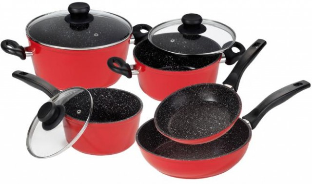 Stoneline sada nádobí s mramorovým povrchem 8 ks červená